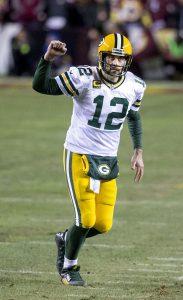 Quarterback Aaron Rodergs von den Green Bay Packers beim Jubel