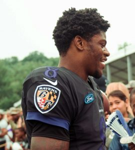 Quarterback Lamar Jackson von den Baltimore Ravens erobert derzeit die NFL im Sturm. Hier in der Preseason 2018